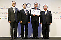 (L-R) Sadaharu Oh, Ryohei Miyata, Yoshiro Mori, Asao Tokolo, Toshiro Muto, April 25, 2016 : Asao Tokolo attends press conference, regarding the Tokyo 2020 Olympic and Paralympic games official emblems in Tokyo, Japan. The Tokyo Organising Committee of the Olympic and Paralympic Games unveiled the emblems. (Photo by Yusuke Nakanishi/AFLO SPORT)