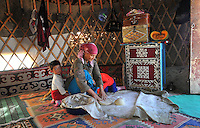 Kazaki nomads living in Jurta (Traditional Asian nomad's tent)