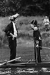 Eton College, Fourth of June celebrations. Eton, Berkshire, England 1971.<br /> <br /> Fourth of June, boys in naval costume pass assembled parents on the bank and salute them by raising their oars and standing up which sometimes results in their capsizing, to the huge delight of the crowd.