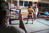 USA, Oahu, Hawaii, professional boxers spar at a training gym in Honolulu