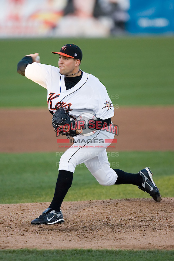 Starting pitcher Brad Bergeson (9) of the Frederick Keys in action versus the Salem Avalanche at Harry Grove Stadium in Frederick, MD, Tuesday, April 15, 2008.