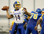 BROOKINGS, SD - APRIL 25: South Dakota State University quarterback Chris Little, #14, playing for Blue, looks for a receiver in their Spring Game Saturday afternoon at the Sanford Jackrabbit Athletic Facility in Brookings. (Photo by Dave Eggen/Inertia)