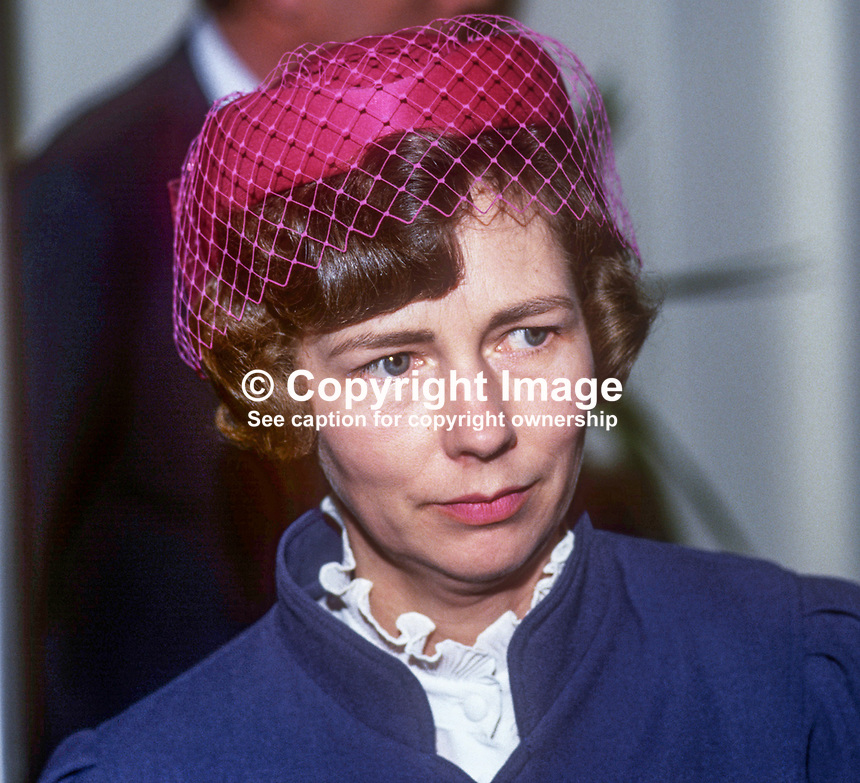 Betty Mawhinney, wife, Brian Mawhinney, junior minister, N Ireland Office, 1986, 19860204BM<br /> <br /> Copyright Image from Victor Patterson, 54 Dorchester Park, <br /> Belfast, UK, BT9 6RJ<br /> <br /> t1: +44 28 9066 1296 (from Rep of Ireland 048 9066 1296)<br /> t2: +44 28 9002 2446 (from Rep of Ireland 048 9002 2446)<br /> m: +44 7802 353836<br /> <br /> e: victorpatterson@me.com<br /> www.victorpatterson.com<br /> <br /> Please see my Terms and Conditions of Use at www.victorpatterson.com. It is IMPORTANT that you familiarise yourself with them.<br /> <br /> Images used on the Internet must be visibly watermarked i.e. &copy; Victor Patterson<br /> within the body of the image and copyright metadata must not be deleted. Images <br /> used on the Internet have a size restriction of 4kbs and will be chargeable at current<br />  NUJ rates unless agreed otherwise.<br /> <br /> This image is only available for the use of the download recipient i.e. television station, newspaper, magazine, book publisher, etc, and must not be passed on to any third <br /> party. It is also downloaded on condition that each and every usage is notified within 7 days to victorpatterson@me.com<br /> <br /> The right of Victor Patterson to be identified as the author is asserted in accordance with The Copyright Designs And Patents Act (1988). All moral rights are asserted.