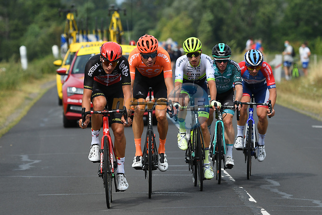The breakaway featuring Brent Van Moer (BEL) Lotto Soudal, Niccolò Bonifazio (ITA) Total Direct Energie, Michael Schär (SUI) CCC Team, Quinten Hermans (BEL) Circus-Wanty Gobert and Tom-Jelte Slagter (NED) B&B Hotels-Vital Concept in action during Stage 1 of Criterium du Dauphine 2020, running 2185km from Clermont-Ferrand to Saint-Christo-en-Jarez, France. 12th August 2020.<br /> Picture: ASO/Alex Broadway | Cyclefile<br /> All photos usage must carry mandatory copyright credit (© Cyclefile | ASO/Alex Broadway)
