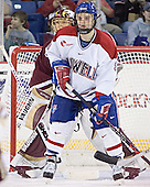Cory Schneider, Mark Roebothan - The Boston College Eagles defeated the University of Massachusetts-Lowell River Hawks 4-3 in overtime on Saturday, January 28, 2006, at the Paul E. Tsongas Arena in Lowell, Massachusetts.