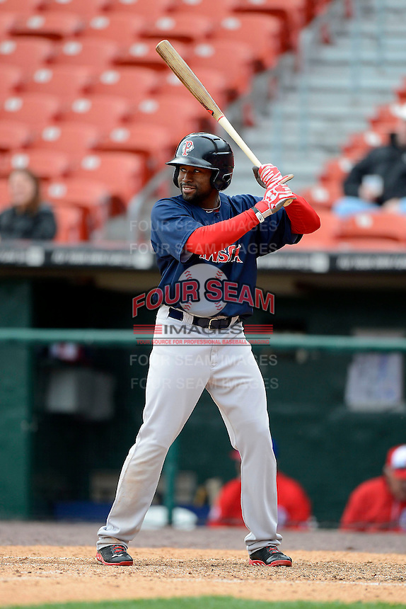 Pawtucket Red Sox outfielder Jackie Bradley Jr #19 during the second game of a doubleheader against the Buffalo Bisons on April 25, 2013 at Coca-Cola Field in Buffalo, New York.  Buffalo defeated Pawtucket 4-0.  (Mike Janes/Four Seam Images)