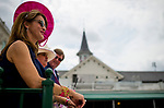 LOUISVILLE, KY - MAY 04: A woman wearing a fancy pink hat watches the races on Kentucky Oaks Day at Churchill Downs on May 4, 2018 in Louisville, Kentucky. (Photo by Scott Serio/Eclipse Sportswire/Getty Images)