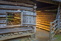 Great Smoky Mts. National Park, TN/NC<br /> Log corn crib and gate at &quot;The Tipton place&quot; farm site in Cades Cove