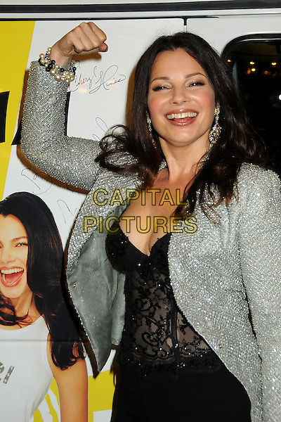 "FRAN DRESCHER .""The Million Dollar Revival"" Benefit for Fran Drescher's Cancer Schmancer Charity Movement held at the Million Dollar Theatre, Los Angeles, California, USA..December 13th, 2009.half length black grey gray jacket top corset lace hand arm flexing silver jewel encrusted embellished sparkly .CAP/ADM/BP.©Byron Purvis/AdMedia/Capital Pictures."