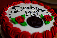 LOUISVILLE, KENTUCKY - MAY 03: A Kentucky Derby themed cake sits on display in the backside media center during Kentucky Derby and Oaks preparations at Churchill Downs on May 3, 2017 in Louisville, Kentucky.(Photo by Scott Serio/Eclipse Sportswire/Getty Images)