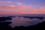 Island County, WA<br /> Aerial  view of the San Juan Islands at sunset
