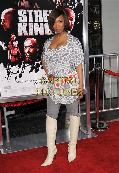 ELISE NEAL .Attends The Fox Searchlight World Premiere of Street Kings held at The Chinese Theatre in Hollywood, California, USA, April 03 2008.                                                                     full length grey gray and white print top belt jeans over knee boots cream .CAP/DVS.©Debbie VanStory/Capital Pictures
