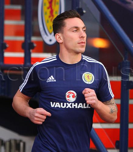 29.03.2016. Hampden Park, Glasgow, Scotland. International Football Friendly Scotland versus Denmark.  Scotland captain Scott Brown out to the warm-up