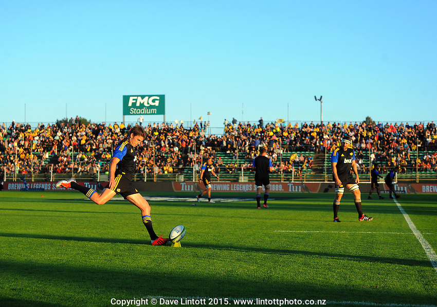 Beauden Barrett warms up during the Super Rugby match between the Hurricanes and Blues at FMG Stadium, Palmerston North, New Zealand on Friday, 13 March 2015. Photo: Dave Lintott / lintottphoto.co.nz