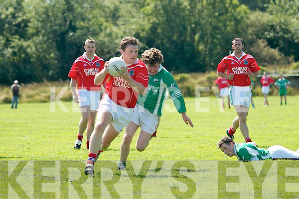 Its all about pace. Joe Costello.(St Pats) breaks away from Mike.Scanlon (Ballydonoghue) in their.County League Division Four.meeting in North Kerry on Sunday.