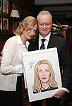 """Max Klimavicius with Uma Thurman from the cast of """"The Parisian Woman"""" honored with a Sardi's Wall of Fame Portrait on February 28, 2018 at Sardi's in New York City."""