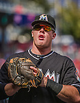 28 September 2014: Miami Marlins first baseman Justin Bour walks the dugout prior to facing the Washington Nationals for the last game of the regular season at Nationals Park in Washington, DC. The Nationals shut out the Marlins with a 1-0 no-hitter going to Nationals pitcher Jordan Zimmermann. Mandatory Credit: Ed Wolfstein Photo *** RAW (NEF) Image File Available ***