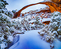 Heavy snow at Landscape Arch, Arches National Park, Utah  Devils Garden One of the World's longest natural spans