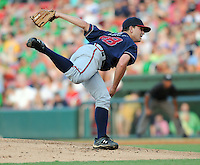 Starting RHP Willie Kempf (38) of the Rome Braves in a game against the Greenville Drive on Aug. 10, 2010, at Fluor Field at the West End in Greenville, S.C. He was the Atlanta Braves' 27th round pick in the 2010 Draft. Photo by: Tom Priddy/Four Seam Images.