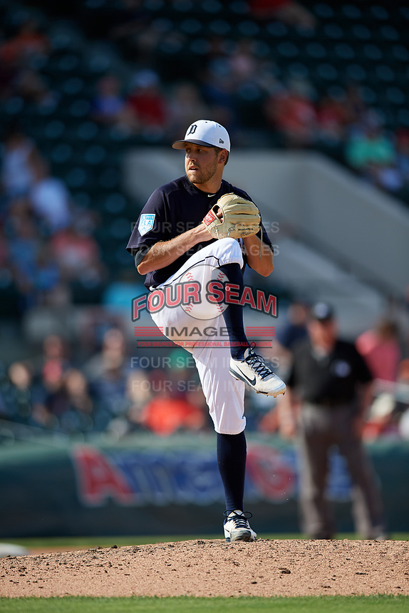 Detroit Tigers relief pitcher Matt Hall (64) delivers a pitch during a Grapefruit League Spring Training game against the Atlanta Braves on March 2, 2019 at Publix Field at Joker Marchant Stadium in Lakeland, Florida.  Tigers defeated the Braves 7-4.  (Mike Janes/Four Seam Images)