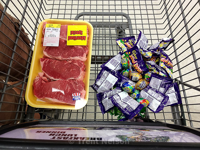steaks and cadbury candy, Saturday April 6, 2013.