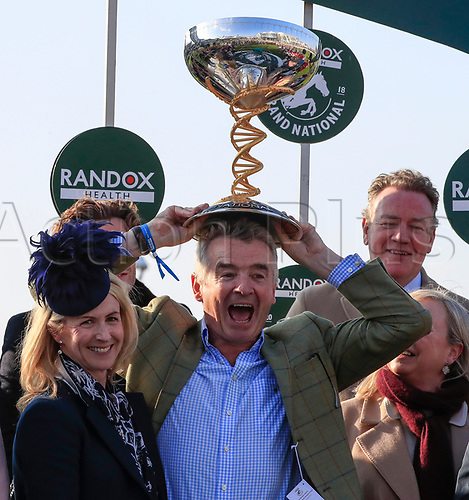 14h April 2018, Aintree Racecourse, Liverpool, England; The 2018 Grand National horse racing festival sponsored by Randox Health, day 3; Owner Michael O'Leary celebrates winning the Grand National on Tiger Roll