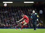 Leigh Halfpenny of Wales takes a penalty watched by kicking coach Neil Jenkins - RBS 6Nations 2015 - Wales  vs England - Millennium Stadium - Cardiff - Wales - 6th February 2015 - Picture Simon Bellis/Sportimage