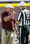 Louisiana Monroe head coach Matt Viator has a discussion with referee David Epperley in the 1st half of an NCAA college football game against Florida State in Tallahassee, Fla., Saturday, Dec. 2, 2017.  (AP Photo/Mark Wallheiser)