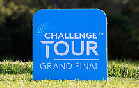 Challenge Tour tee marker on the 18th during the Pro-Am of the Challenge Tour Grand Final 2019 at Club de Golf Alcanada, Port d'Alcúdia, Mallorca, Spain on Wednesday 6th November 2019.<br /> Picture:  Thos Caffrey / Golffile<br /> <br /> All photo usage must carry mandatory copyright credit (© Golffile | Thos Caffrey)
