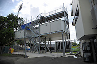 The media commentary tower during day two of the 2nd cricket test match between the New Zealand Black Caps and Pakistan at Seddon Park, Hamilton, New Zealand on Saturday, 26 November 2016. Photo: Dave Lintott / lintottphoto.co.nz