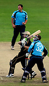 30.8.10 - CB40 Cricket - Warwickshire Bears V Scottish Saltires at Edgbaston - Bears batsman Darren Maddy pulls the balls away, off the bowling of Saltires Capt Gordon Drummond and away from keeper Simon Smith, on his way to anchoring a Bears win with a 74 run total - Picture by Donald MacLeod - mobile 07702 319 738 - clanmacleod@btinternet.com - words if required from William Dick 077707 839 23