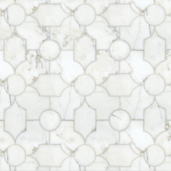 Chatham 2, a waterjet stone, shown in polished Calcatta Tia, is part of the Silk Road Collection by Sara Baldwin for New Ravenna Mosaics. <br />