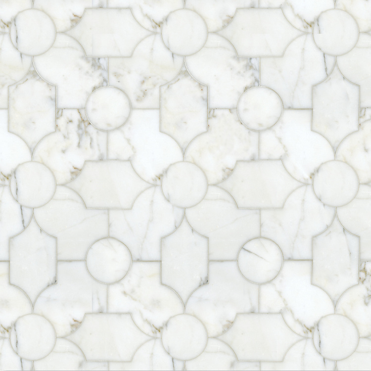 Chatham 2, a waterjet stone, shown in polished Calcatta Tia, is part of the Silk Road® collection by New Ravenna.