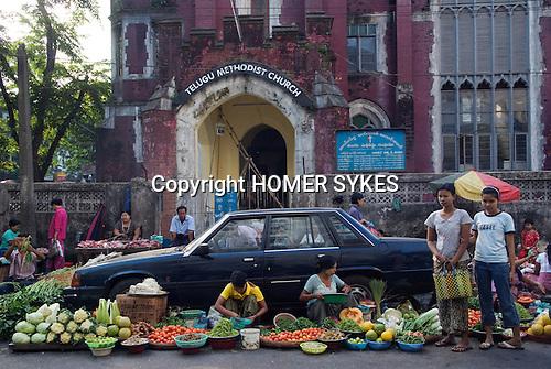 Yangon Myanmar (Rangoon Burma) 2008. Street market.
