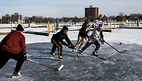 High school buddies playing hockey between the docks at Sarnia Bay Marina. From left are; Aidan Clark, Brendan Bouterse, Cole Rogers, Spencer Baillie and Adams Biggs.