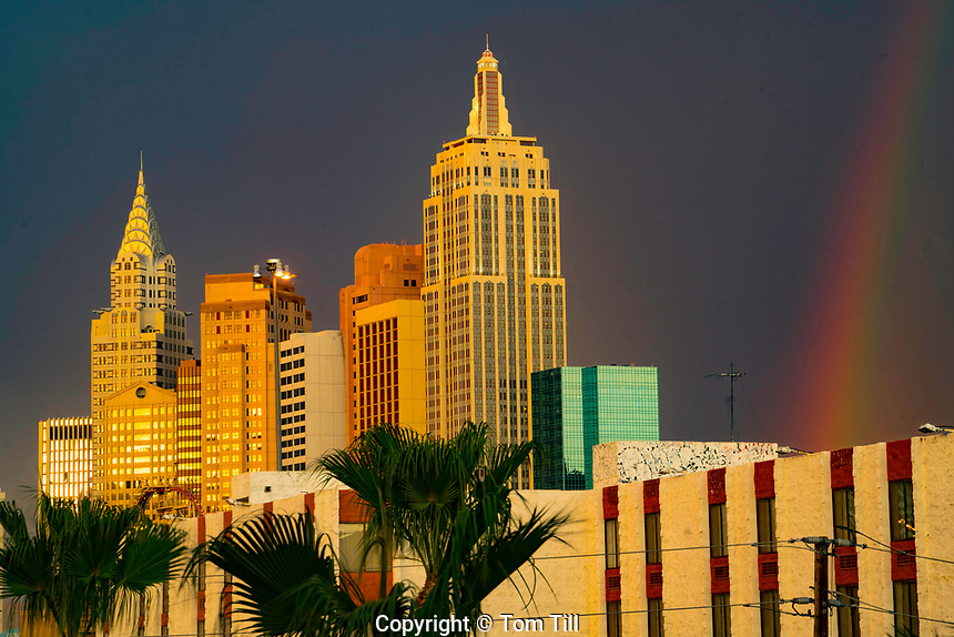 New York, New York and rainbow, Las Vegas, Nevada