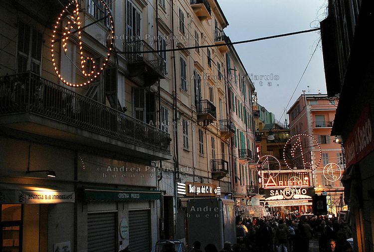 Italia, Sanremo, Festival della canzone italiana. Il teatro Ariston. Italy, Sanremo, Festival di Sanremo, the popular festival of italian music. The Ariston theatre.