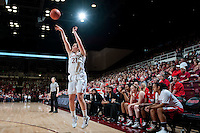 STANFORD, CA--Sara James shoots from the outside celebrate senior day during PAC-12 conference play against Utah  at Maples Pavilion. The Cardinal won the matchup against the Utes 69-42.