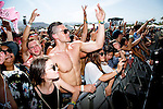 Fans react as Lil B performs on stage at Weekend 1 of the Coachella Valley Music and Arts Festival in Indio, California April 10, 2015. (Photo by Kendrick Brinson)