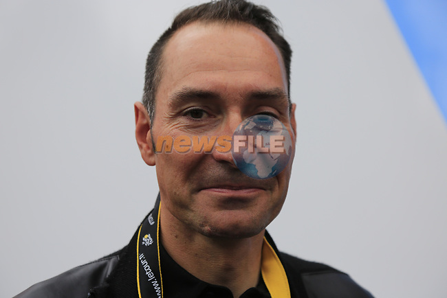 Former rider Erik Zabel before Stage 1, a 14km individual time trial around Dusseldorf, of the 104th edition of the Tour de France 2017, Dusseldorf, Germany. 1st July 2017.<br /> Picture: Eoin Clarke | Cyclefile<br /> <br /> <br /> All photos usage must carry mandatory copyright credit (&copy; Cyclefile | Eoin Clarke)