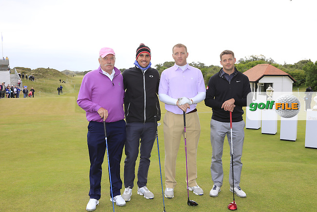 Rafa CABRERA-BELLO (ESP) with Dermot, Brett and Ross Desmond on the 1st tee during the Pro-Am of the 2015 Dubai Duty Free Irish Open, Royal County Down Golf Club, Newcastle Co Down, Northern Ireland. 27/05/2015 <br /> Picture Eoin Clarke, www.golffile.ie