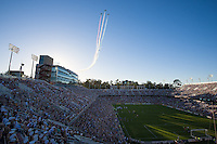 STANFORD, CA - Saturday June 29, 2013: Flyover before the San Jose Earthquakes vs LA Galaxy game in Stanford Stadium at Stanford, CA. Final score SJ Earthquakes 3, LA Galaxy 2.
