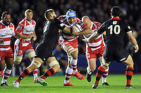 Mariano Galarza of Gloucester Rugby takes on the Edinburgh defence. European Rugby Challenge Cup Final, between Edinburgh Rugby and Gloucester Rugby on May 1, 2015 at the Twickenham Stoop in London, England. Photo by: Patrick Khachfe / Onside Images