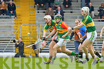 Shane Nolan Kerry and John Rogers Carlow in action during their Allianz Hurling league clash in Fitzgerald Stadium on Sunday