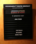 """Lobby cast board for the Broadway Opening Night Performance Curtain Call of """"John Lithgow: Stories by Heart"""" at the American Airlines Theatre on January 11, 2018 in New York City."""