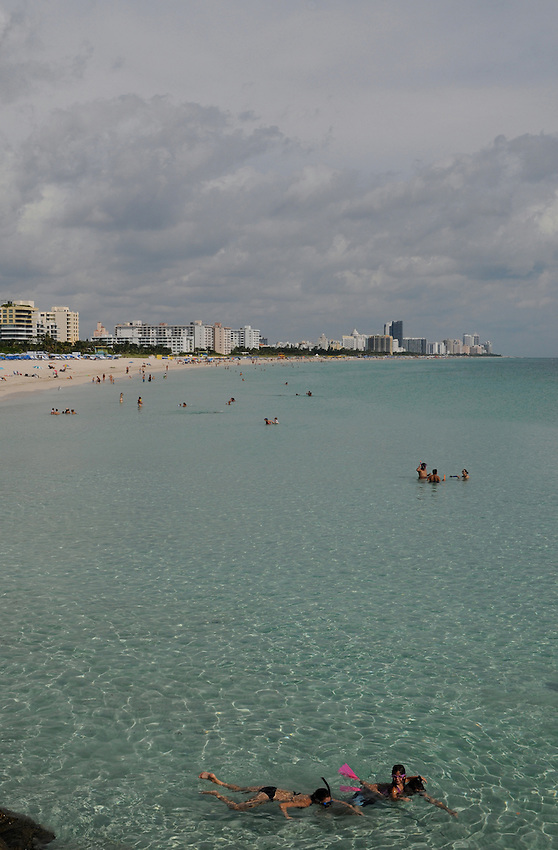 From the tip of South Beach, South Point, looking up and across the entire Miami Beach landscape, people lap up the sun, sand, sights and warm ocean waters of beautiful Miami Beach Florida