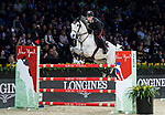 Emanuele Gaudiano of Italy riding Einstein competes in the Masters One DBS during the Longines Masters of Hong Kong at AsiaWorld-Expo on 11 February 2018, in Hong Kong, Hong Kong. Photo by Diego Gonzalez / Power Sport Images