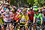 160 riders ready for the start of Stage 17 of the 2019 Tour de France running 200km from Pont du Gard to Gap, France. 24th July 2019.<br /> Picture: ASO/Alex Broadway | Cyclefile<br /> All photos usage must carry mandatory copyright credit (© Cyclefile | ASO/Alex Broadway)