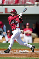 South Carolina left fielder Harley Lail (16) follows through on his swing versus LSU at Sarge Frye Stadium in Columbia, SC, Thursday, March 18, 2007.