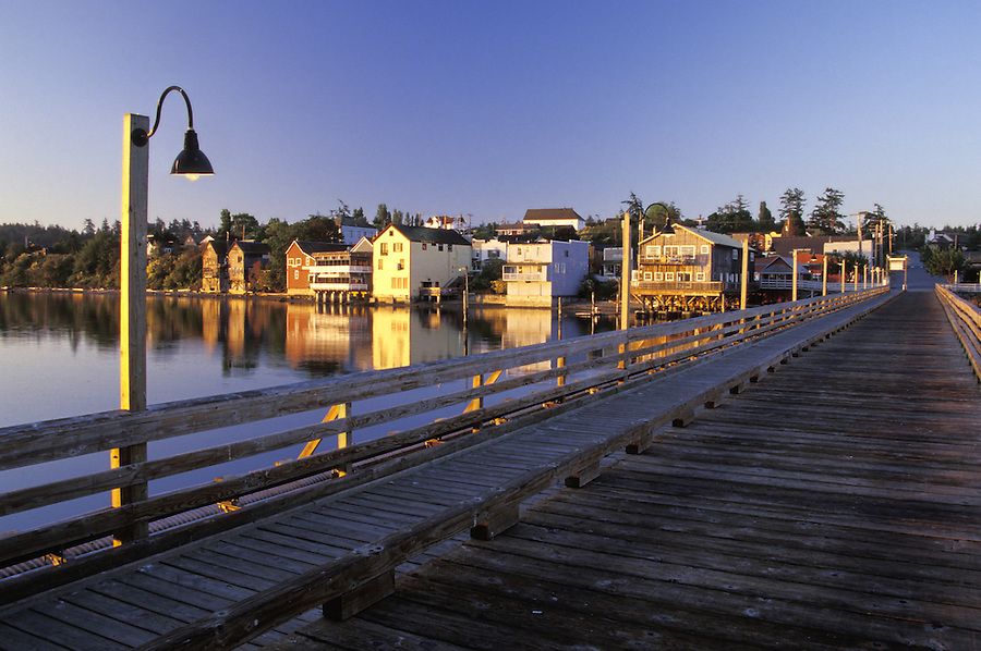 Coupeville waterfront and pier at sunrise, Coupeville, Washington